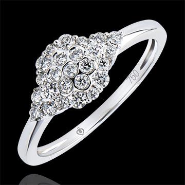 Anello Solitario Freschezza - Nido d'api - oro bianco 9 carati e diamanti