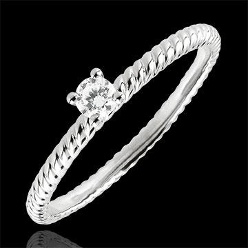 Anello Solitario Fune d'Oro - Oro bianco - 9 carati - Diamante