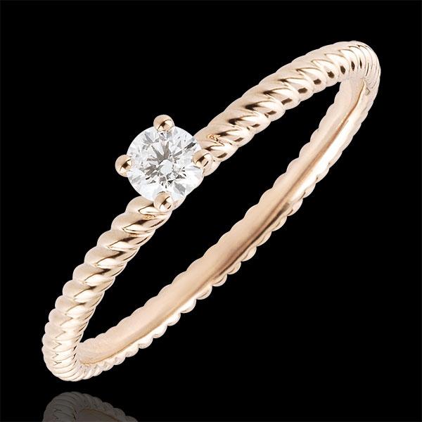 Anello Solitario Fune d'Oro - Oro rosa - 9 carati - Diamante