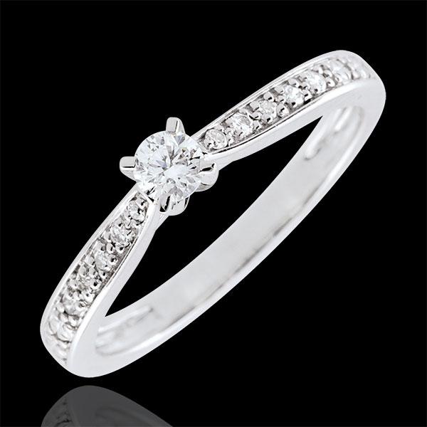 Anello solitario Garlane - 4 griffe - Oro bianco - 9 carati - 11 Diamanti - 0.15 carati - Diamante centrale - 0.10 carati
