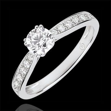 Anello solitario Garlane 8 griffes - Diamanti 0.4 carati - Oro bianco 9 carati