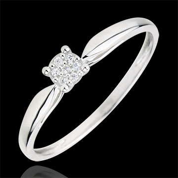 Anello Solitario - Miriade di stelle - Oro bianco - 9 carati - 7 Diamanti