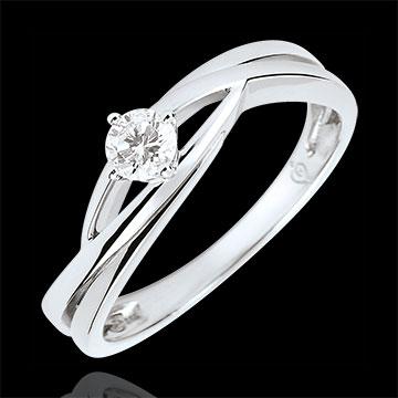 Anello solitario Nido Prezioso - Daria - Diamante 0.15 carati - Oro bianco 9 carati