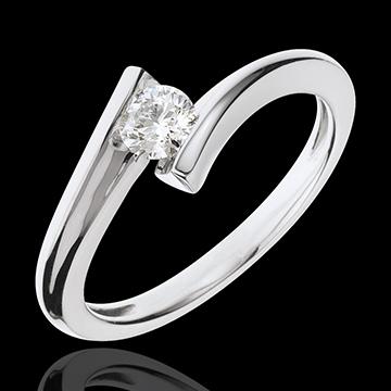 Anello solitario Nido Prezioso - Eclissi Lunare - Oro bianco - 18 carati - Diamante