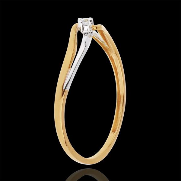 Anello Solitario Nido Prezioso - Eloisa - Oro bianco e Oro giallo - 18 carati - Diamante
