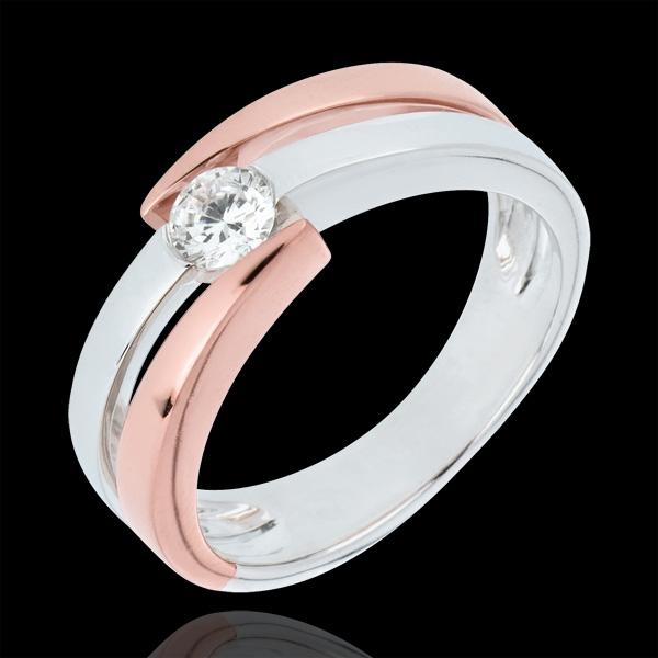 Anello solitario Nido Prezioso - Rosa del deserto - Oro rosa e Oro bianco - 18 carati - Diamante - 0.25 carati