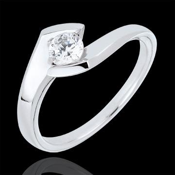 Anello Solitario Nido Prezioso - Sera d'estate - Oro bianco - 18 carati - Diamante - 0.32 carati