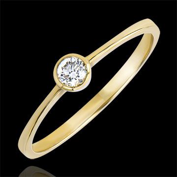 Anello Solitario Origine - Innocenza - oro giallo 9 carati e diamante