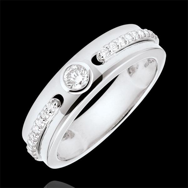 Anello Solitario Promessa - Oro bianco - 18 carati - Diamanti -0.244 carati