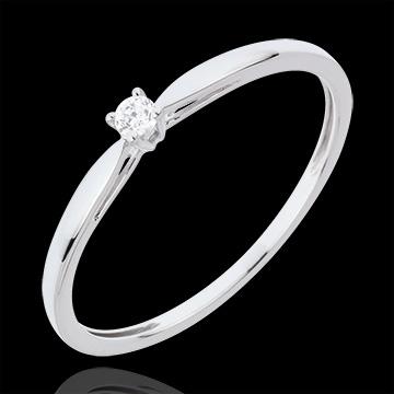 Anello Solitario Ramoscello - Oro bianco - 18 carati - Diamante