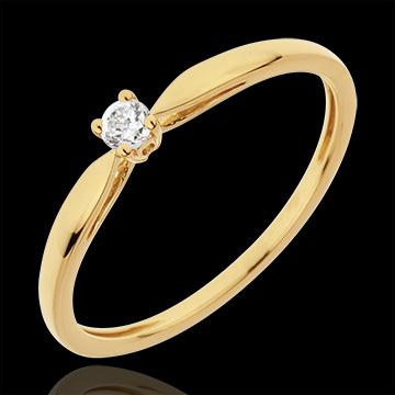 Anello Solitario Ramoscello - Oro giallo - 18 carati - Diamante