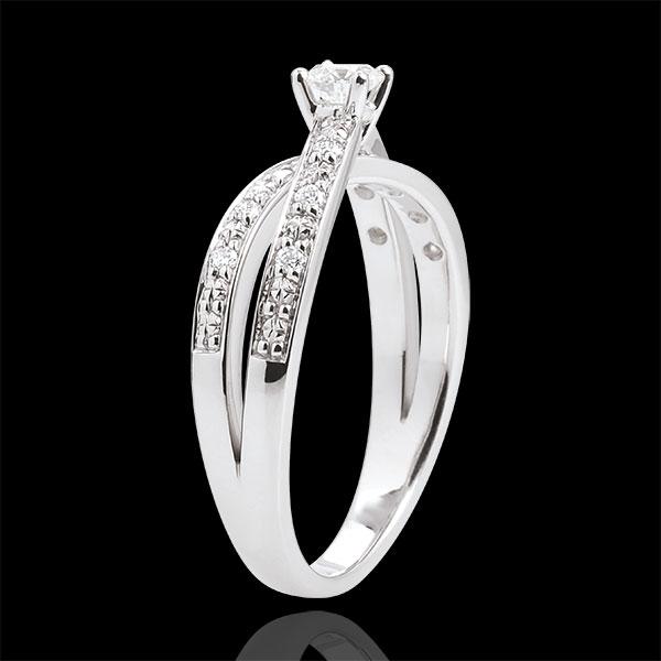 Anello Solitario Saturno Duetto doppio diamante -Oro bianco - 18 carati - Diamanti - 0.246 carati