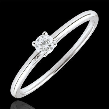 Anello solitario Sì - Oro bianco - 9 carati - Diamante -0.1 carati