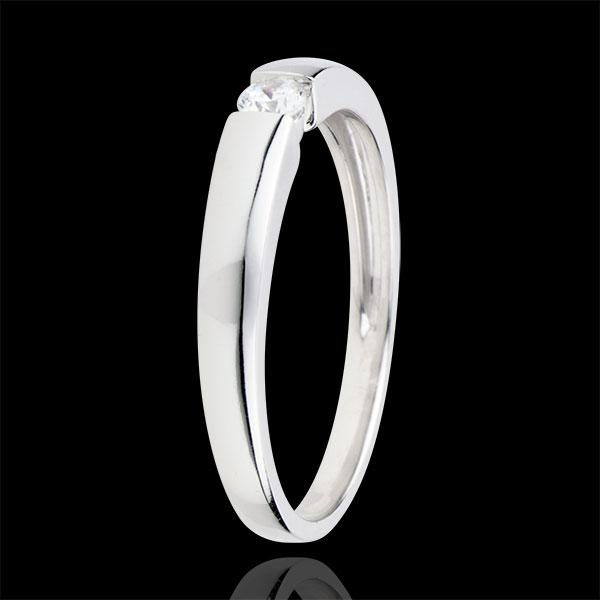 Anello Solitario Tesoro - Oro bianco - 18 carati - Diamante - 0.1 carati