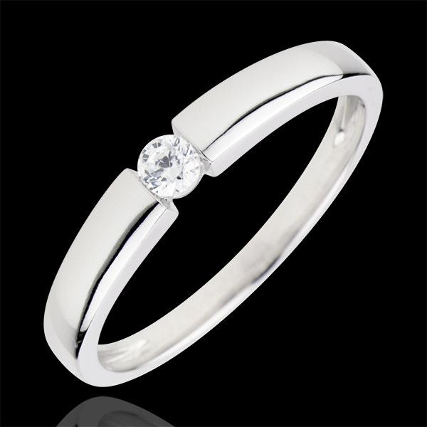 Anello Solitario Tesoro - Oro bianco - 9 carati - Diamante - 0.1 carati