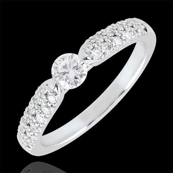 Anello solitario Trionfale - Oro bianco- 18 carati - Diamanti - 0.45 carati - Diamante centrale - 0.25 carati
