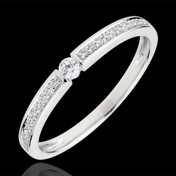 Anello Solitario Ultima - Oro bianco - 18 carati - 23 Diamanti - 0.14 carati