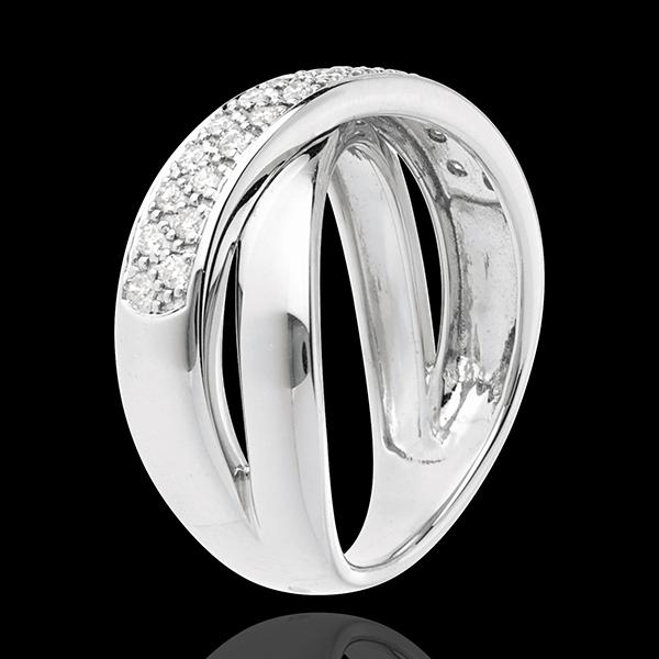 Anello Tandem - Oro bianco semi pavé - 18 carati - 26 Diamanti - 0.26 carati