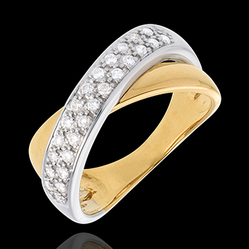 Anello Tandem semi pavé - Oro bianco e Oro giallo - 18 carati - 26 Diamanti - 0.26 carati