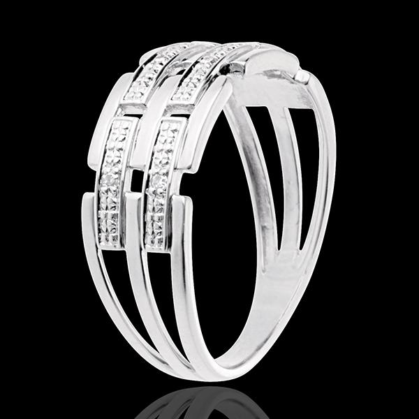 Anello Trama - Oro bianco pavé - 18 carati - 6 Diamanti