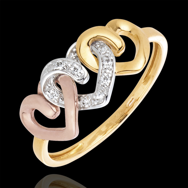 Anello Tre cuori - Oro bianco, giallo e rosa - 18 carati - 8 Diamanti
