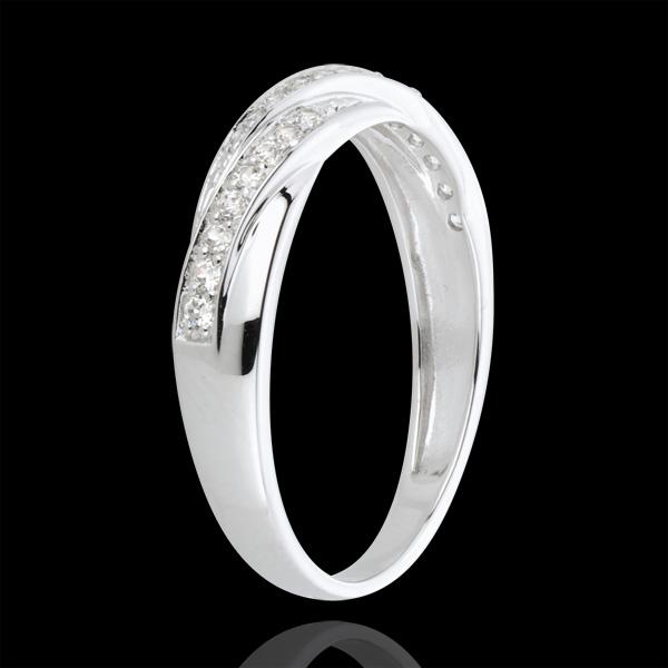 Anello Treccia preziosa - Oro bianco - 18 carati - 25 Diamanti - 0.16 carati