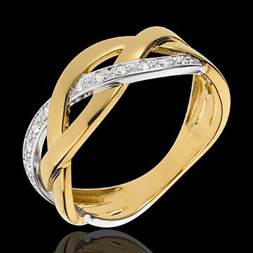 Anello Treccia preziosa - Oro bianco e Oro giallo - 18 carati - 12 Diamanti