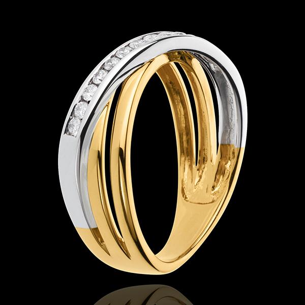 Anello Triaz - Oro bianco e Oro giallo - 18 carati - 14 Diamanti - 0.21 carati