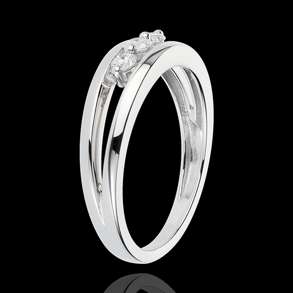 Anello Trilogy Abisso - Oro bianco - 18 carati - 3 Diamanti - 0.17 carati