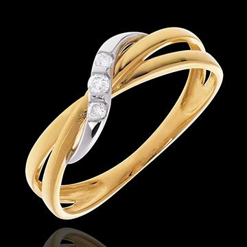 Anello Trilogy Cerchio - Oro giallo e Oro bianco - 18 carati - 3 Diamanti