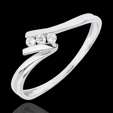 Anello Trilogy Euforia - Oro bianco - 18 carati - 3 Diamanti