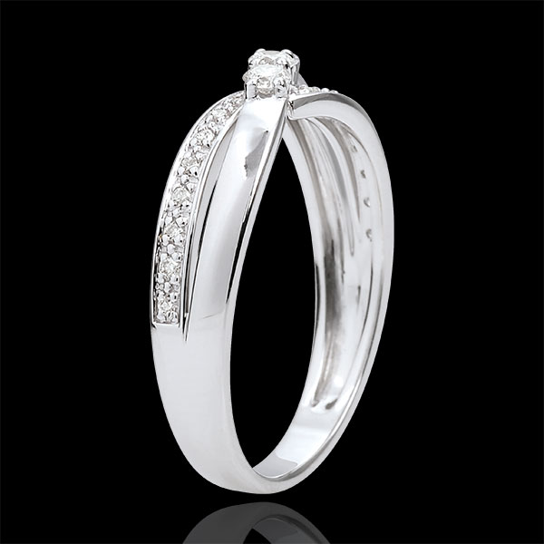 Anello Trilogy Nido Prezioso - Aurea - Oro bianco - 18 carati - Diamanti - 0.18 carati