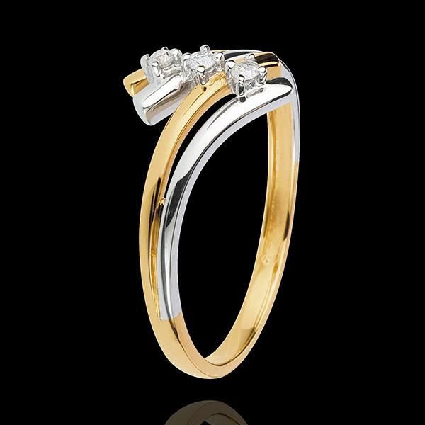 Anello trilogy Nido Prezioso - Firmamento - Oro giallo e Oro bianco - 18 carati - Diamanti