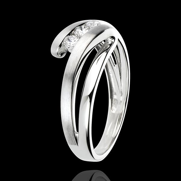 Anello Trilogy Nido Prezioso - Naiade - Oro bianco - 18 carati - 3 Diamanti - 0.19 carati