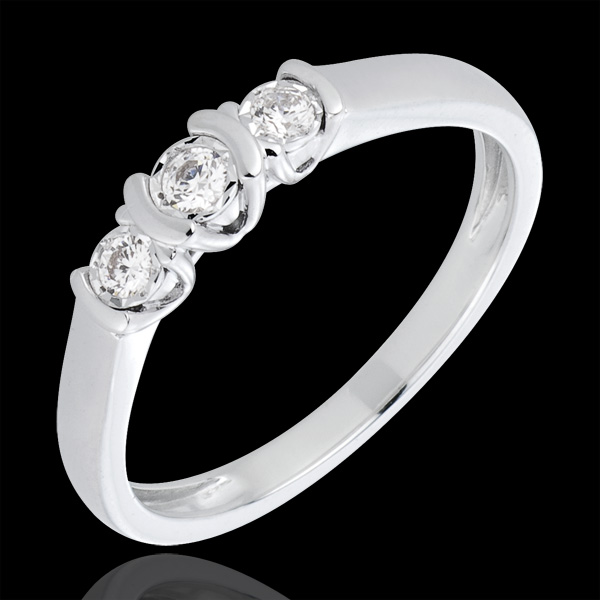 Anello Trilogy Parentesi - Oro bianco - 18 carati - 3 Diamanti - 0.13 carati