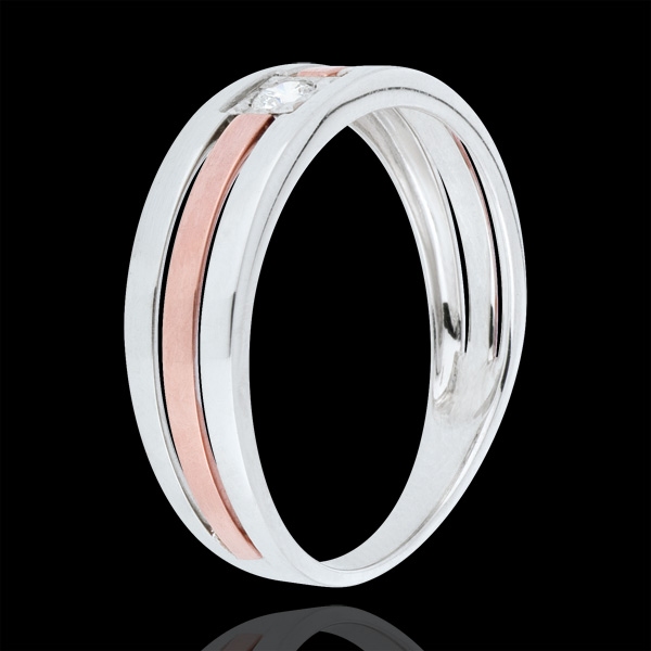 Anello Tripla fila - Oro rosa e Oro bianco - 18 carati - Diamante