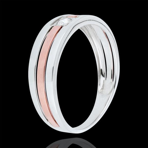 Anello Tripla fila - Oro rosa e Oro bianco - 9 carati - Diamante