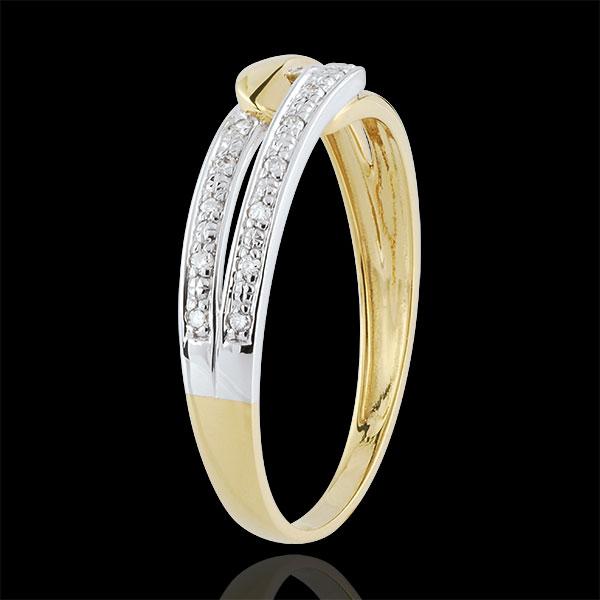 Anello Unione d'armonia bicolore - Oro bianco e Oro giallo - 9 carati - 13 Diamanti