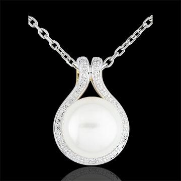 Anhänger Adélie - Perlen und Diamanten