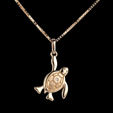 Baby Schildkröte - große - Gelgold - 9 Karat