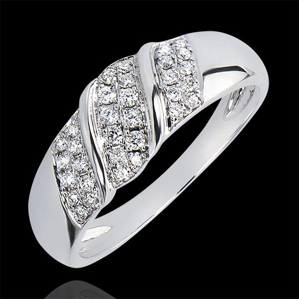 Anillo Abundancia - Cinta - oro blanco de 9 quilates y diamantes