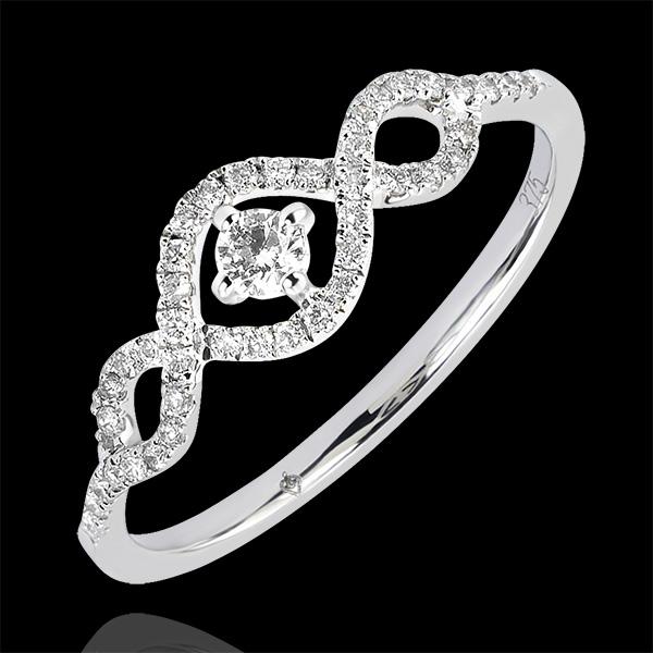 Anillo Abundancia - Volutas - oro blanco de 9 quilates y diamantes