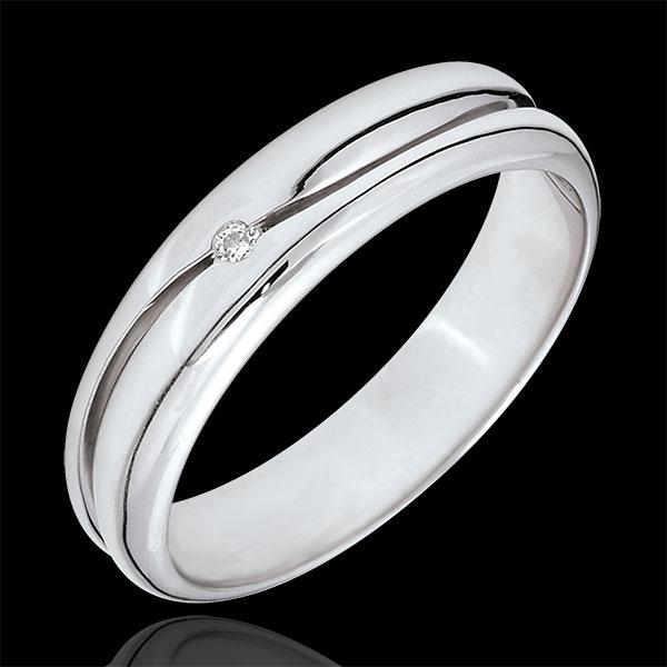 Anillo Amor - Alianza hombre de oro blanco 9 quilates - diamante 0.022 quilates
