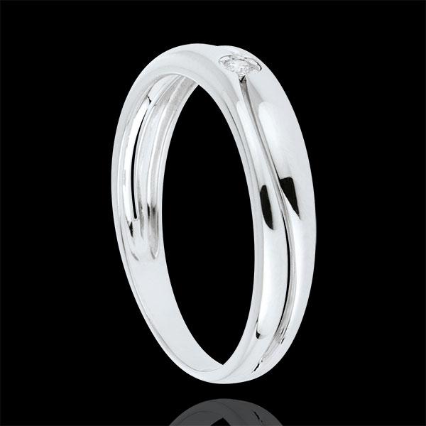 Anillo Amor oro blanco 9 quilates y diamante 0.022 quilates