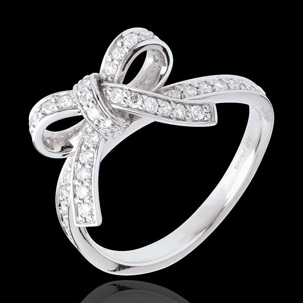 Anillo Anudado Diamantes - oro blanco 18 quilates