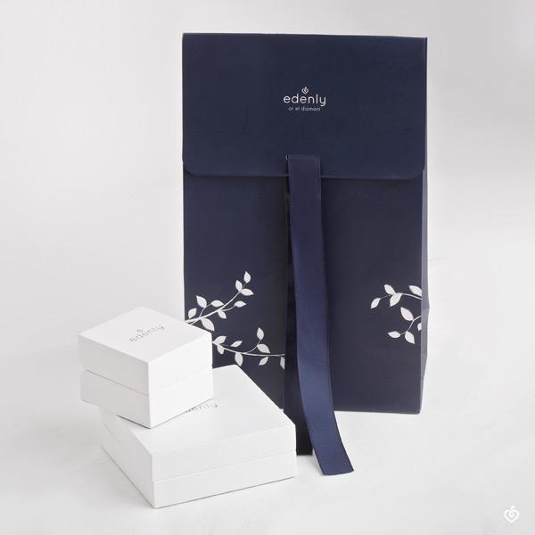 Anillo Aves del Paraíso - dos filas - oro blanco 9 quilates y zafiro azul