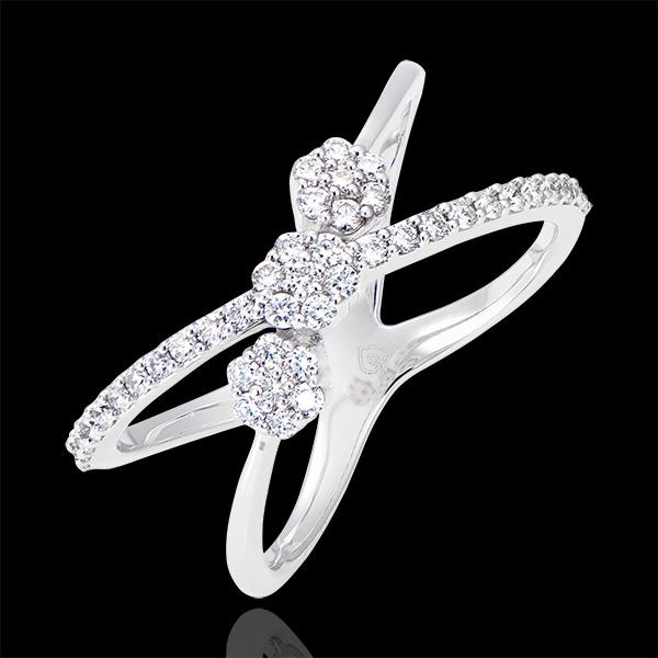 Anillo Celestes Elipses - oro blanco de 9 quilates y diamantes