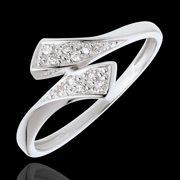 Anillo Cinta - oro blanco 18 quilates empedrado - 10 diamantes