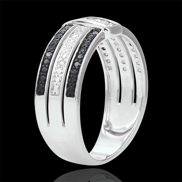 Anillo Claroscuro - Anochecer - oro blanco 18 quilates - diamantes blancos y negros