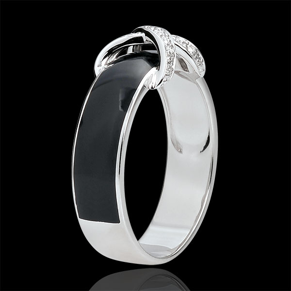 Anillo Claroscuro - Encrucijada - oro blanco 9 quilates - laca negra y diamantes